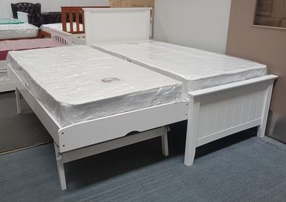 Picture of Eddie Single Bed with Pop Up Trundle Mattresses Solid Hardwood White