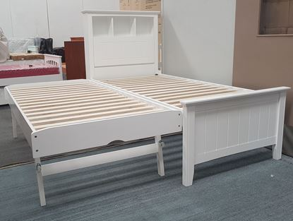 Picture of Kaylee Single Bed Box Headboard Pop Up Trundle Solid Hardwood White