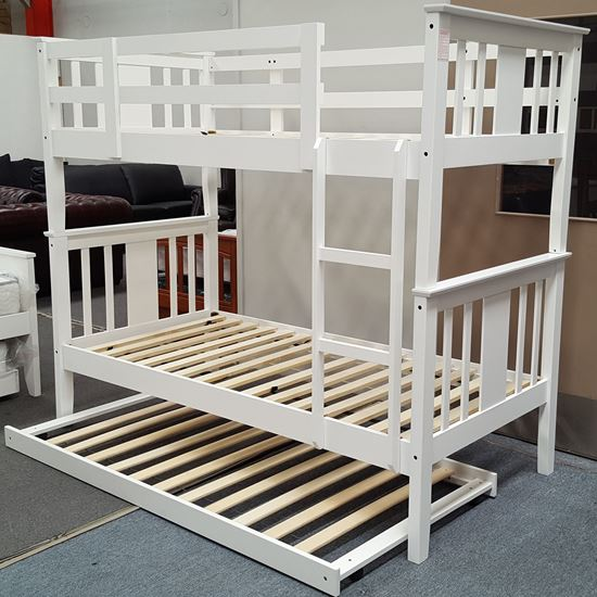 Picture of Holly Bunk Bed with Trundle Single Solid Hardwood White Malaysian Made