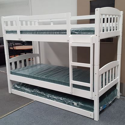 Picture of Miki Bunk Bed with Trundle and Mattresses Single Solid Hardwood White