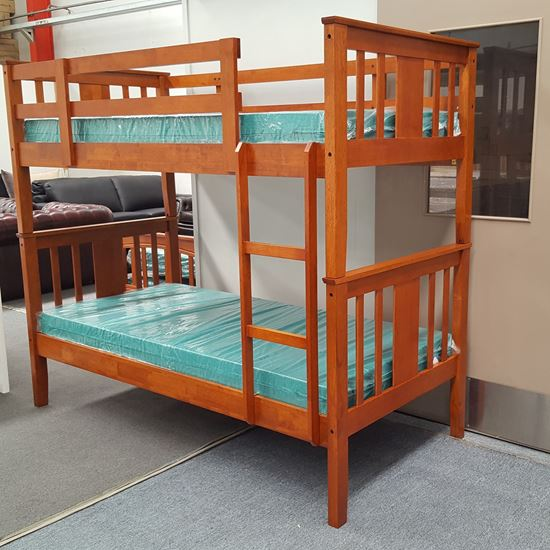 Picture of Holly King Single Bunk Bed with Mattresses Solid Hardwood Antique Oak
