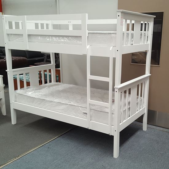 Picture of Holly King Single Bunk Bed with Mattresses Solid Hardwood White