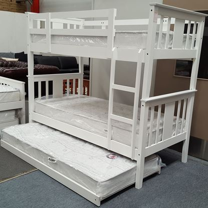 Picture of Holly King Single Bunk Bed with Trundle Mattresses Solid Hardwood White