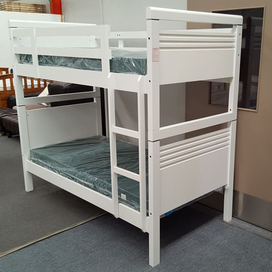 Picture of Elena Bunk Bed with Mattresses Single Solid Hardwood White Colour