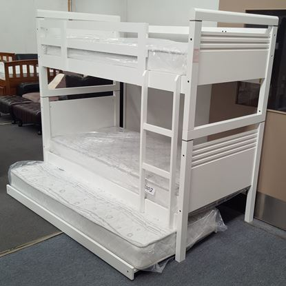 Picture of Elena Bunk Bed with Trundle and Mattresses Single Solid Hardwood White