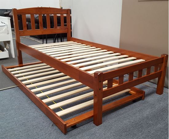 Picture of Miki Single Bed with Trundle Solid Hardwood Oak Malaysian Made