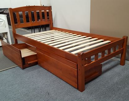 Picture of Miki Single Bed with Drawers Solid Hardwood Oak Malaysian Made
