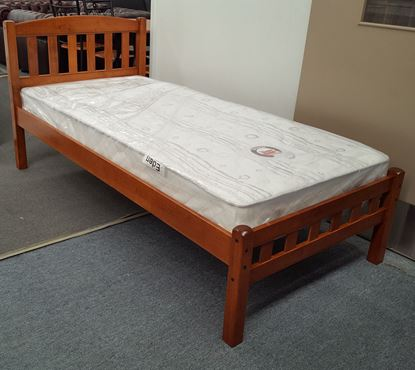 Picture of Miki Single Bed with Mattress Solid Hardwood Oak Malaysian Made