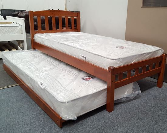Picture of Miki Single Bed with Trundle Mattresses Solid Hardwood Oak Malaysian
