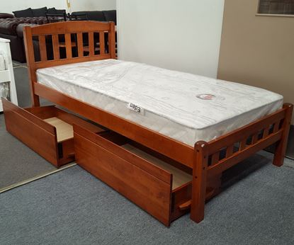 Picture of Miki Single Bed with Drawers Mattress Solid Hardwood Oak Malaysian