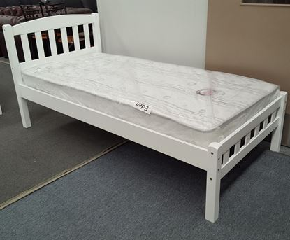 Picture of Miki Single Bed with Mattress Solid Hardwood White Malaysian Made