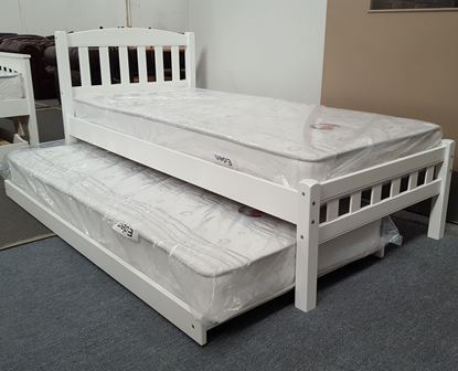 Picture of Miki Single Bed with Trundle Mattresses Solid Hardwood White Malaysian