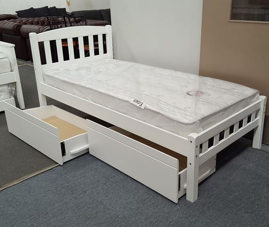 Picture of Miki Single Bed with Drawers Mattress Solid Hardwood White Malaysian