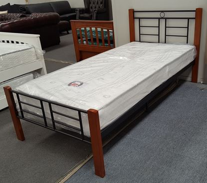 Picture of Topaz Single Bed with Mattress Solid Construction Antique Oak Black