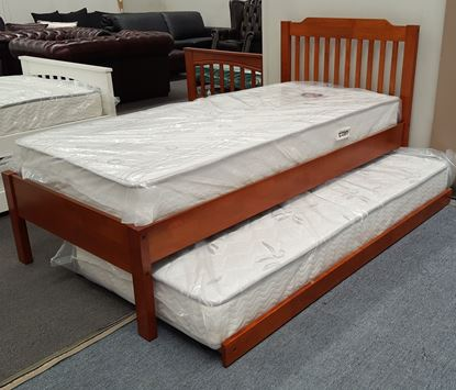 Picture of Chloe Single Bed Adjustable Base Height with Trundle Mattresses Oak