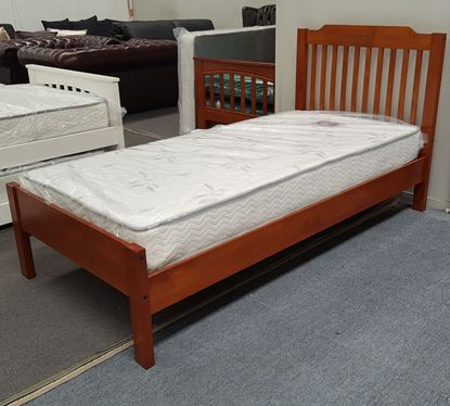 Picture of Chloe Single Bed Adjustable Base Height with Mattress Antique Oak