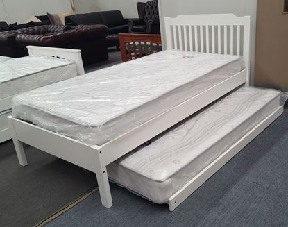 Picture of Chloe Single Bed Adjustable Base Height with Trundle Mattresses White