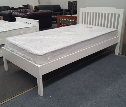 Picture of Chloe Single Bed Adjustable Base Height with Mattress White