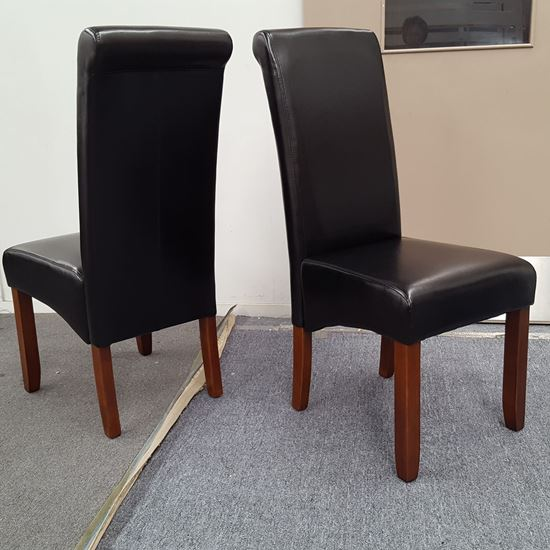 Picture of Vera Dining Chair Black PU Leather Antique Oak Legs
