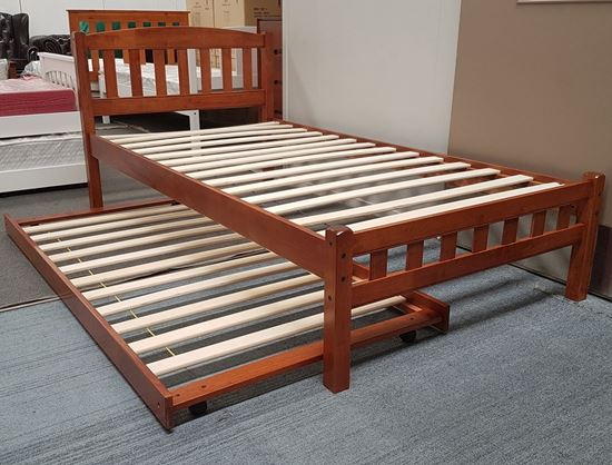 Picture of Miki King Single Bed with Trundle Solid Hardwood Oak Malaysian