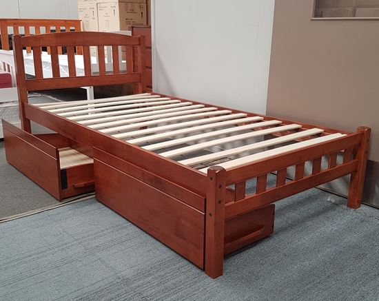 Picture of Miki King Single Bed with Drawers Solid Hardwood Oak Malaysian