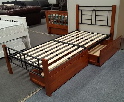 Picture of Topaz  King Single Bed Drawers Solid Construction Oak Black