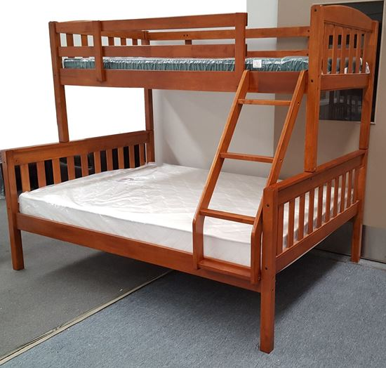 Picture of Miki Double Bunk Bed with Mattresses Solid Hardwood Antique Oak Colour