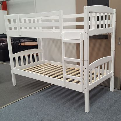 Picture of Miki king Single Bunk Bed Solid Hardwood White Malaysian Made