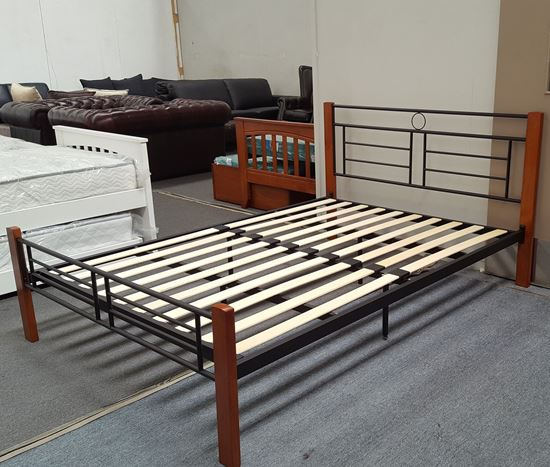 Picture of Topaz Double  Bed Solid Construction Antique Oak-Black Malaysian Made