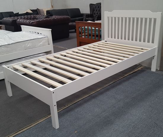 Picture of Chloe Single Bed Adjustable Base Height White Malaysian Made