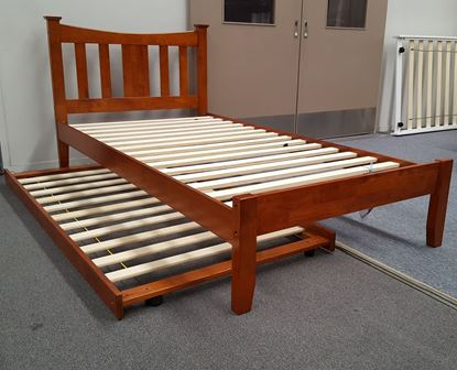 Picture of Hailee King Single Bed with Trundle Solid Hardwood Oak Malaysian Made