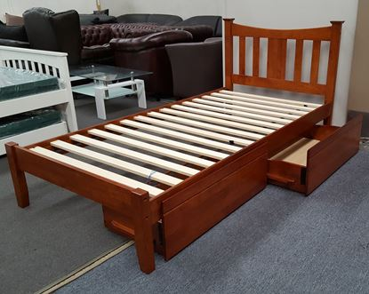 Picture of Hailee King Single Bed with Drawers Solid Hardwood Oak Malaysian Made