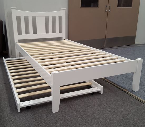 Picture of Hailee King Single Bed with Trundle Solid Hardwood White Malaysian Made