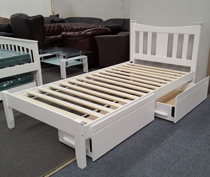 Picture of Hailee King Single Bed with Drawers Solid Hardwood White Malaysian Made