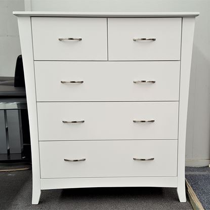 Picture of KIA Tallboy 5 Drawer Fully Assembled Curvaceous Shape Sides White Malaysian Made