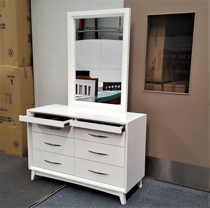 Picture of Gita 8 Drawer Dresser Fully Assembled Elegant Design White Malaysian Made