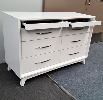 Picture of Gita 8 Drawer Lowboy Fully Assembled Elegant Design White Malaysian Made