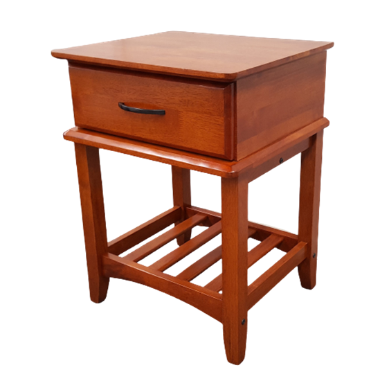 Picture of Matata Bedside Table 1 Drawer Semi Assembled Oak Malaysian Made