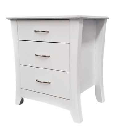 Picture of Kia Bedside Table 3 Drawer Fully Assembled Curvaceous Shape Sides White Malaysian