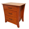 Picture of Kia Bedside Table 3 Drawer Fully Assembled Curvaceous Shape Sides  Oak Malaysian