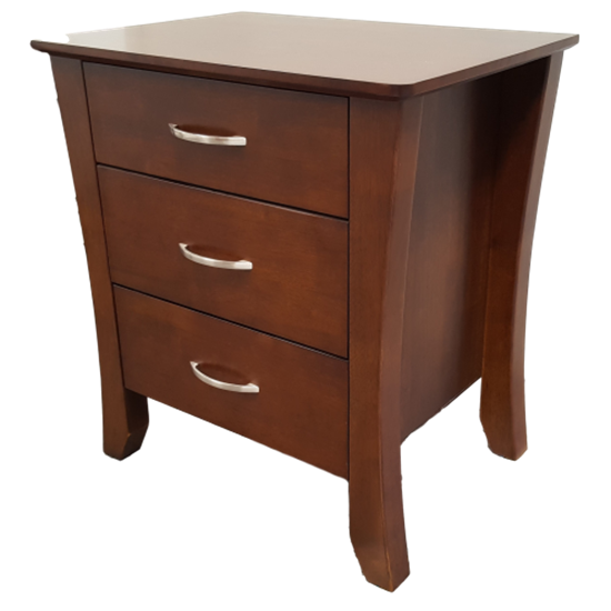 Picture of Kia Bedside Table 3 Drawer Fully Assembled Curvaceous Shape Sides Wenge Malaysian