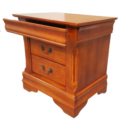Picture of Anna Bedside Table 3 Drawer Fully Assembled Gorgeous Vintage Details Oak Malaysian