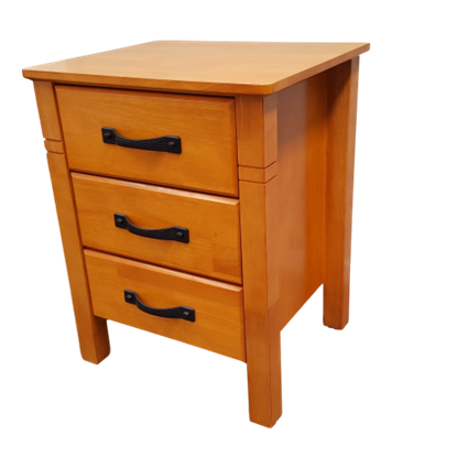 Picture of Jessica Bedside Table 3 Drawer Fully Assembled Luxurious Look Honey Oak Malaysian Made