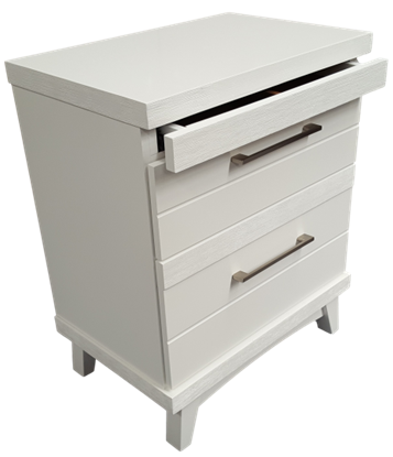 Picture of Katy 3 Drawer Bedside Table Fully Assembled White Malaysian Made