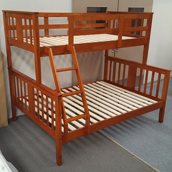 Picture of Holly Double Bunk Bed Solid Hardwood Antique Oak Colour Malaysian Made