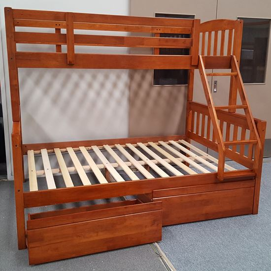 Picture of Miki Queen Bunk Bed with Drawers Solid Hardwood Antique Oak Colour Malaysian Made