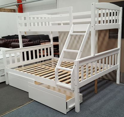 Picture of Miki Queen Bunk Bed with Drawers Solid Hardwood White Colour Malaysian Made