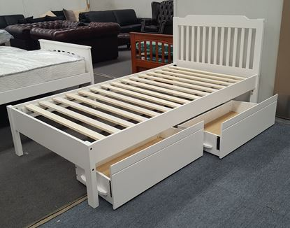 Picture of Chloe Single Bed Adjustable Base Height with Drawers White