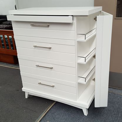 Picture of Katy 5 Drawer Tallboy with Hidden Cabinet Fully Assembled White Colour Malaysian Made