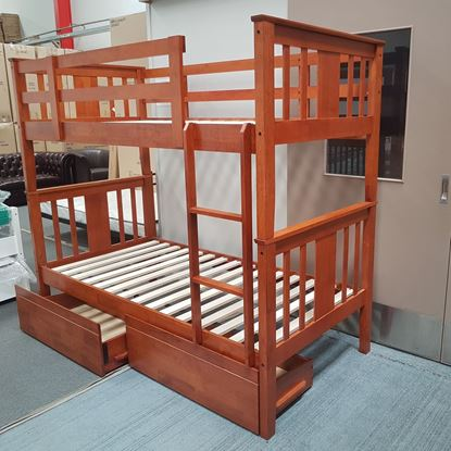 Picture of Holly King Single Bunk Bed with Drawers Solid Hardwood Antique Oak